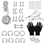 BodyJ4You 36PCS Professional Piercing Kit Steel 14G 16G Flower Belly Ring Tongue Tragus Nipple Lip Nose Jewelry