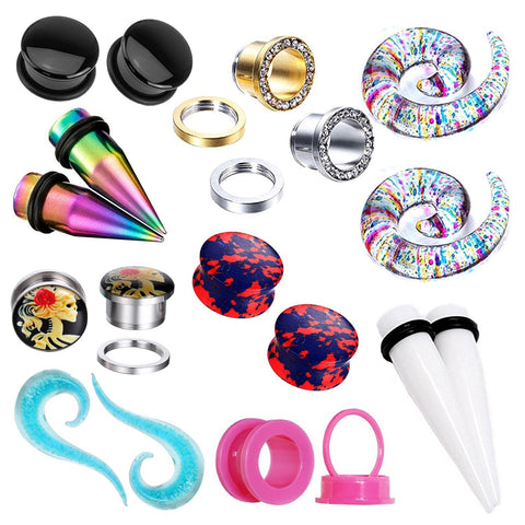 18PC Random Mix Gauges 14G-20mm Assorted Plug Tunnel Taper Steel Acrylic Silicone Expander - BodyJ4you