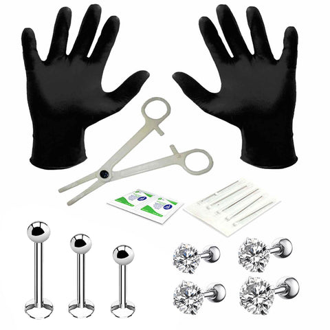 BodyJ4You Professional Body Piercing Kit 15PCS for Labret Studs Tragus Barbell Surgical Steel 16G (1.2mm)
