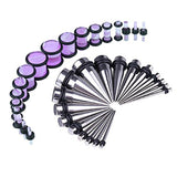 BodyJ4You 36PCS Gauges Kit Stainless Steel Tapers Purple Marble Style Plugs 14G-00G Ear Stretch Set