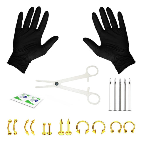 20PC Pro Piercing Kit BCR CBR Labret Tragus Nipple Nose Lip 16G Steel Jewelry - BodyJ4you