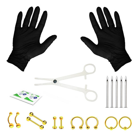 20PC Professional Piercing Kit BCR CBR Labret Belly Nipple Lip Nose 14G Steel Jewelry - BodyJ4you