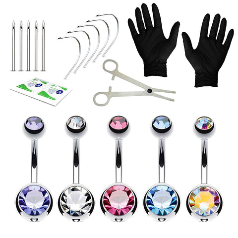 20PC Professional Piercing Kit Multicolor Steel 14G Double CZ Belly Navel Ring Body Piercing Set - BodyJ4you