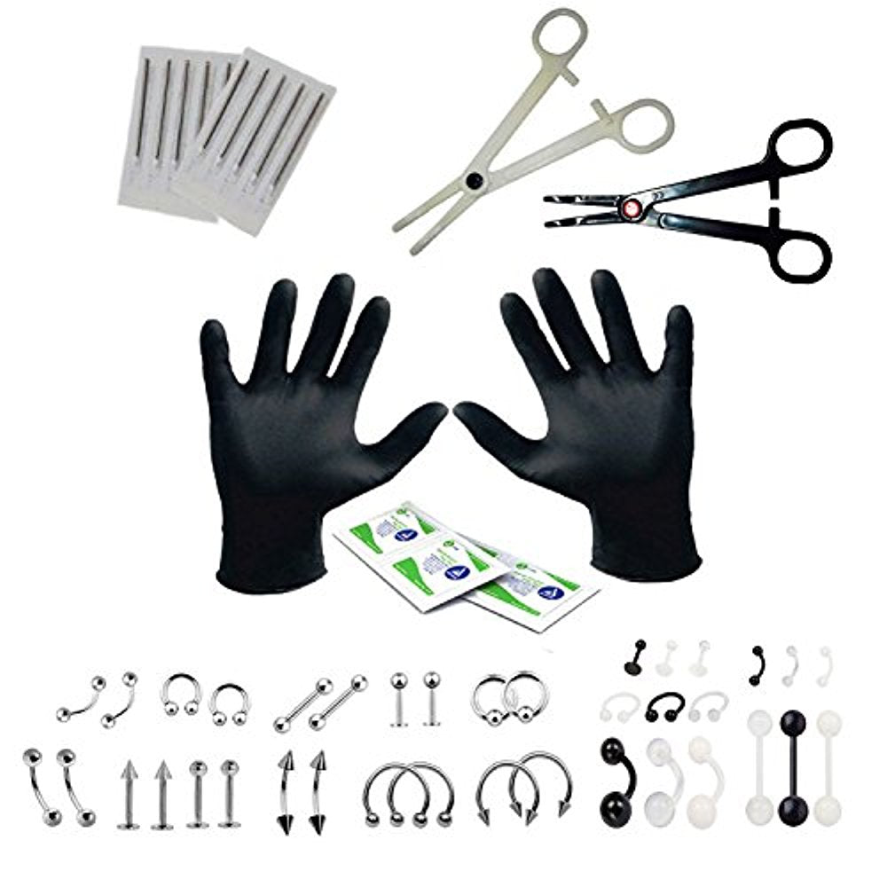 BodyJ4You Professional Body Piercing Kit 50 Pieces for Belly Tongue Ear Eyebrow Nipple Lip Nose 16G, 14G