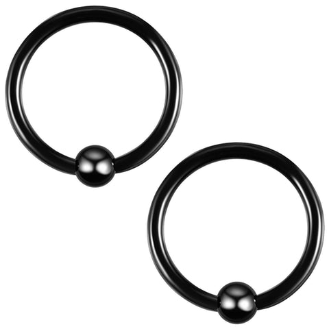 2PC Ball Closure Ring Black Steel 14G-20G BCR Nose Nipple Tragus Lip - BodyJ4you