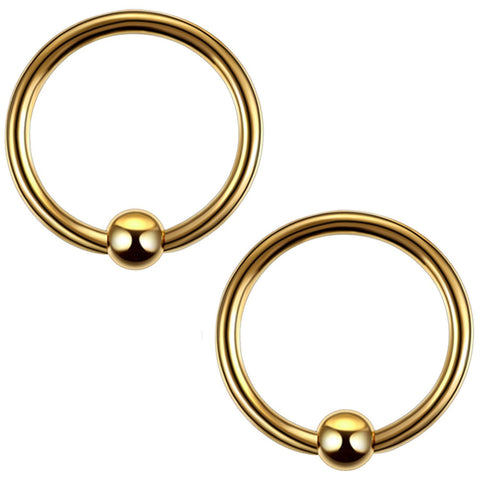 2PC Ball Closure Ring Goldtone Steel 14G-20G BCR Nose Nipple Tragus Lip - BodyJ4you