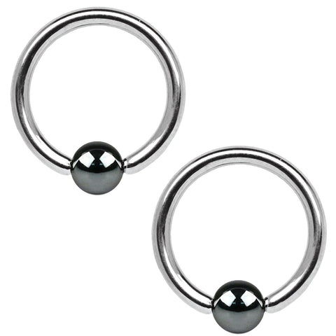 2PC Ball Closure Ring Hematite Ball Steel 14G-25mm BCR Nose Nipple Tragus Lip - BodyJ4you