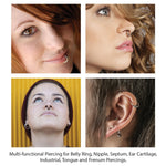 2PC Ball Closure Ring Matte Black Steel 10G-20G BCR Nose Nipple Tragus Lip - BodyJ4you