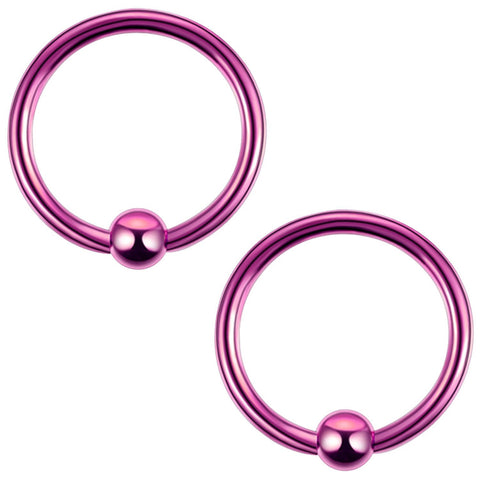 2PC Ball Closure Ring Purple Steel 14G-20G BCR Nose Nipple Tragus Lip - BodyJ4you