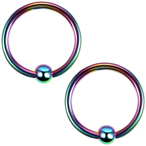 2PC Ball Closure Ring Rainbow Green Steel 14G-20G BCR Nose Nipple Tragus Lip - BodyJ4you