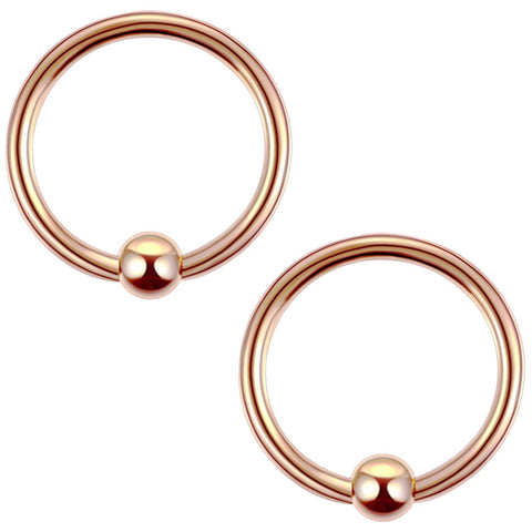 2PC Ball Closure Ring Rose Goldtone Steel 16G-20G BCR Nose Nipple Tragus Lip - BodyJ4you