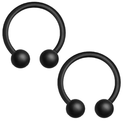 2PC Horseshoe Circular Barbell Matte Black Steel 14G-16G CBR Nose Nipple Tragus Lip - BodyJ4you