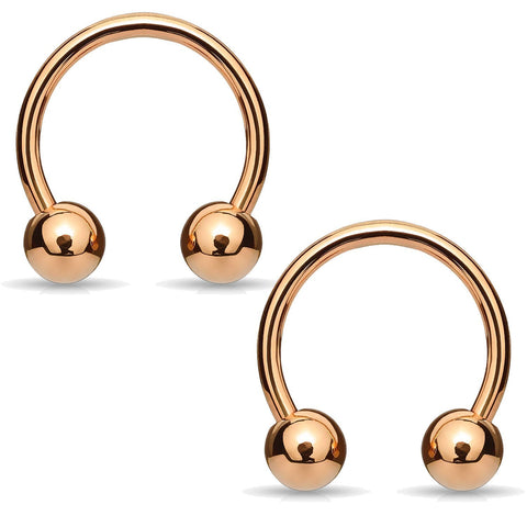 2PC Horseshoe Circular Barbell Rose Goldtone Steel 8G-16G CBR Nose Nipple Tragus Lip - BodyJ4you