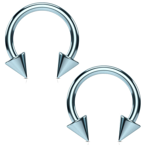 2PC Horseshoe Circular Spike Barbell Light Blue Steel 10G-16G CBR Nose Nipple Tragus Lip - BodyJ4you
