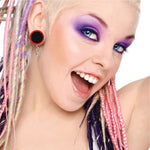 36PC Gauges Kit Ear Stretching 14G-00G Black Acrylic Tapers Plugs Multicolor O-Ring Set - BodyJ4you