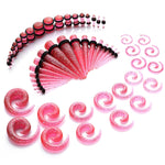 36PC Gauges Kit Ear Stretching 8G-00G Color Splash Acrylic Spiral Tapers Plugs Body Piercing - BodyJ4you