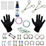 36PC PRO Piercing Kit Stainless Steel Aftercare Spray 14G 16G Nose Ring Septum Jewelry - BodyJ4you