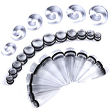 BodyJ4You 54PC Big Gauges Kit Ear Stretching 00G-20mm Acrylic Spiral Tapers Plugs Body Piercing Set