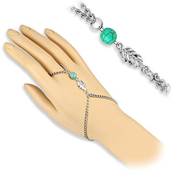 BodyJ4You® Bracelet Finger Ring Leaf Turquoise Bead Unique Chain Fashion Jewelry