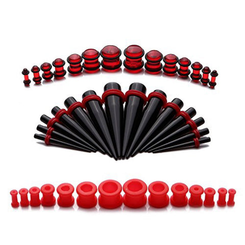 42PC Gauges Kit Ear Stretching 8G-12mm Tapers Plugs Silicone Acrylic Body Piercing Set - BodyJ4you