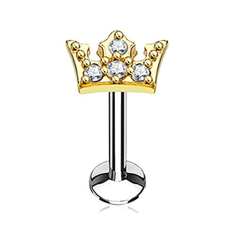 BodyJ4You Labret Piercing Stud 16G Surgical Steel Crown Tragus Ear Gold Barbell Internally Threaded