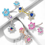 BodyJ4You Belly Button Ring 7 Large CZ Crystal Multicolor Flower 14G Surgical Steel Navel Piercing
