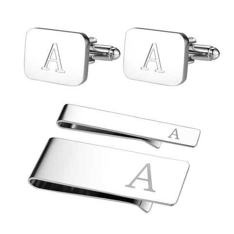 4PC Cufflinks Tie Bar Money Clip Button Shirt Personalized Initials Letter A Gift Set - BodyJ4you