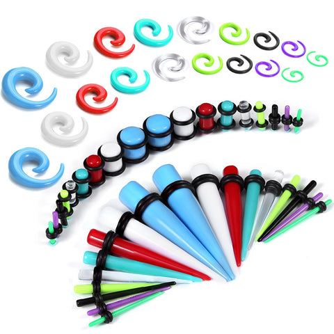 54PC Gauges Kit Ear Stretching 14G-00G Acrylic Spiral Tapers Plugs Body Piercing Set - BodyJ4you