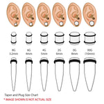 54PC Gauges Kit Ear Stretching 14G-00G Glitter Spiral Tapers Plugs Body Piercing Set - BodyJ4you