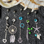 5PC Belly Button Rings Aftercare Saline Spray 14G Anchor Seashell Dangle Steel Bar Women Navel Piercing - BodyJ4you