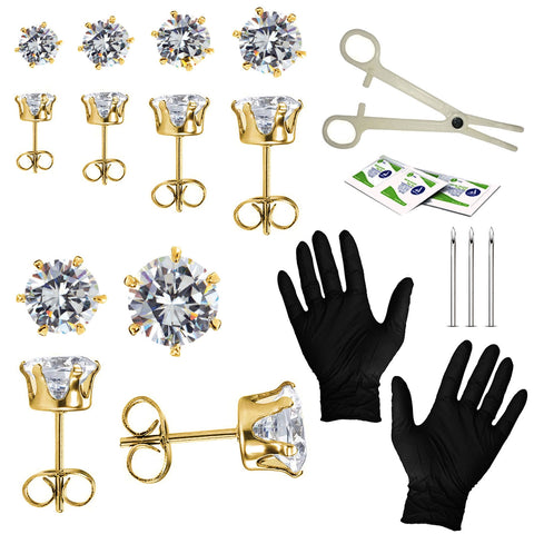 BodyJ4You 22PC Professional Piercing Kit 18G 20G Surgical Steel Clear Crystal CZ Stud Earrings Set