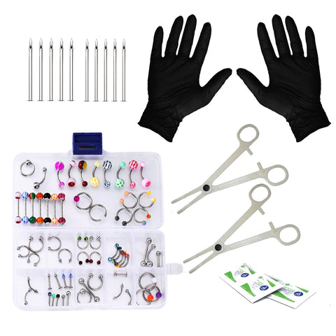 BodyJ4You Body Piercing Kit 16G 14G Mixed Body Jewelry Tongue Tragus Ear Nipple 45 Pieces