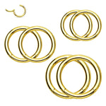 6PC Segment Ring Seamless Nose Lip Cartilage Hoop 14G 16G 18G Multicolor Steel Clicker - BodyJ4you