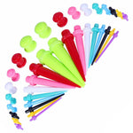 36PC Gauges Kit Ear Stretching 14G-00G Multicolor Acrylic Tapers Plugs Matching O-Ring Set