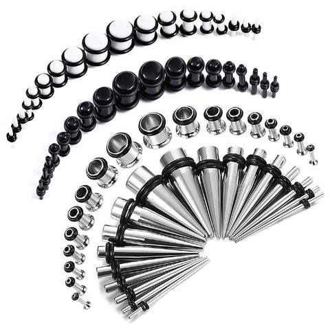 72PC Gauges Kit Acrylic Plugs Stainless Steel Tapers 14G-00G Ear Stretching Piercing Set - BodyJ4you