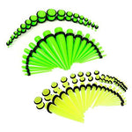72PC Gauges Kit Plugs Tapers Acrylic Glow Dark 14G-00G Ear Stretching Set - BodyJ4you