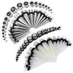 72PCS Gauges Kit 14G-00G Glow Dark Acrylic Steel Tunnel Plug Taper Stretch Jewelry - BodyJ4you