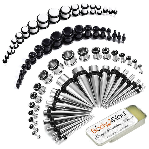 73PC Gauges Kit Ear Stretching Aftercare Balm 14G-00G Acrylic Plug Surgical Steel Taper - BodyJ4you