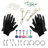 BodyJ4You 35PCS Professional Piercing Kit Stainless Steel 14G Double CZ Belly Navel Ring Set