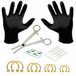 BodyJ4You 18PC PRO Piercing Kit Steel 14G Horseshoe Ring Barbell Septum Nipple Lip Ear Body Jewelry