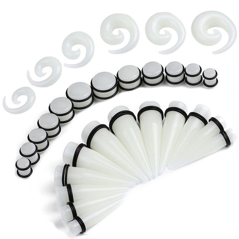 BodyJ4You 36PC Big Gauges Kit Ear Stretching 00G-20mm Glow Dark Spiral Tapers Plugs Body Set