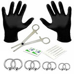 18PC PRO Piercing Kit Steel 14G Ball Closure Ring Septum Nipple Lip Ear Body Jewelry