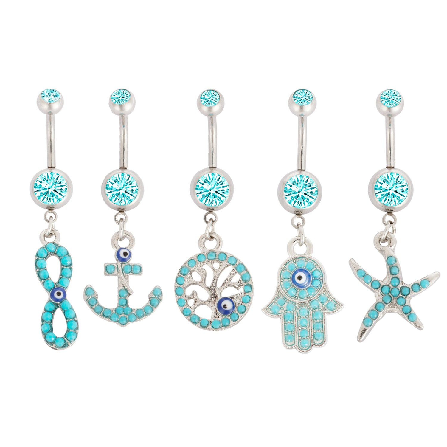 BodyJ4You® Belly Button Ring Evil Eye Navel Turquoise Gem Lot of 5 Pieces Piercing Jewelry