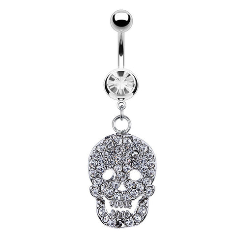 Belly Ring Skull Dangle Cubic Zirconia Star Stones 14G Belly Piercing Stainless Steel 14 Gauge - BodyJ4you