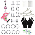 36PC PRO Piercing Kit Stainless Steel 14G 16G Belly Ring Tongue Nipple Nose Jewelry
