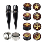 BodyJ4ou 12PCS 16mm Acrylic Tapers and Logo Ear Plug Gauges Set Stainless Steel Single Flared Tunnels - BodyJ4you