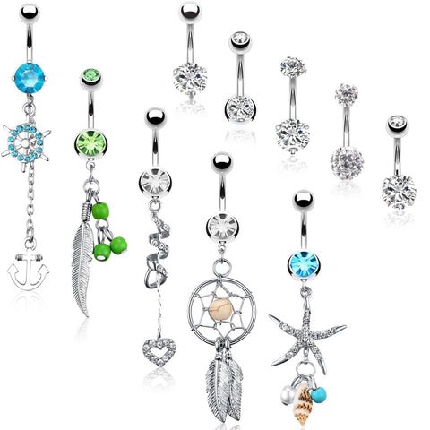 BodyJ4You 10 Belly Button Rings Dangle Banana Bar 14G Steel CZ Crystals Navel Body Jewelry - BodyJ4you