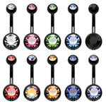 BodyJ4You 10PC Belly Button Ring Double Multicolor CZ Stainless Steel 14G Navel Body Piercing Jewelry - BodyJ4you