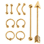 BodyJ4You 10PC Body Piercing Set 14G 16G Tragus Eyebrow Nose Ring Lip Ear Industrial Steel Jewelry - BodyJ4you