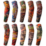 BodyJ4You 10PC Fake Tattoo Sleeve Temporary Arm Cover Design Halloween Skull Sun Rose Art Costume - BodyJ4you